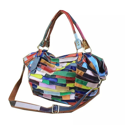 Marlena Leather Bag - Patchwork Leather - Blue and Green