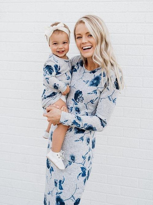 Georgie Mommy & Me Sweater Dress - Gloom & Blue Bloom