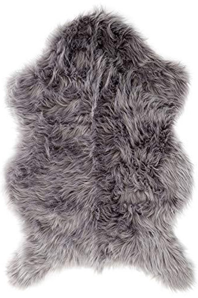 Area Rug Ultra Soft Faux Sheepskin Rug, Throw or Baby Blanket - Gray