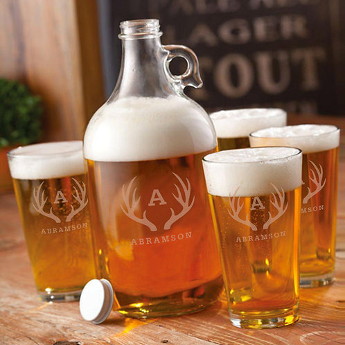 Growler Set with 2 Pub Glasses - Personalized 64 oz.