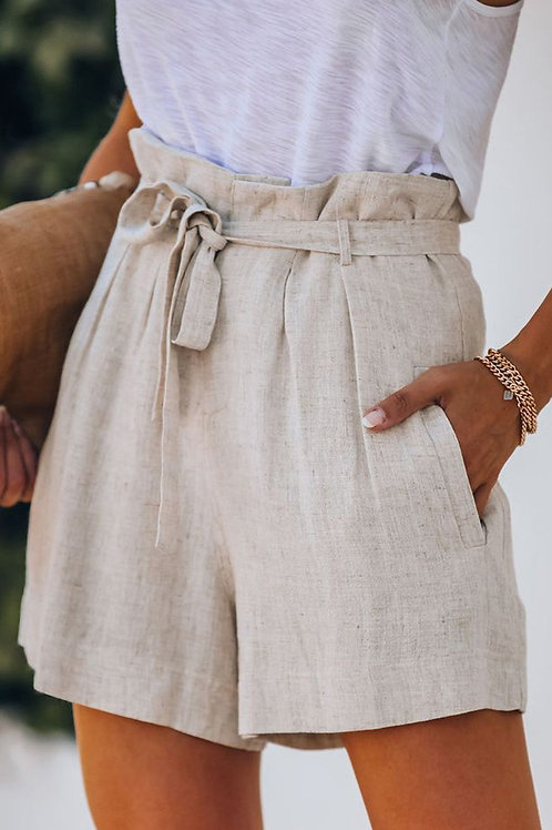 Tie Waist Casual Short with Pockets