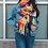 Thumbnail: Warm Blue, Red & Yellow Mix Patchwork Long Tassel Scarf