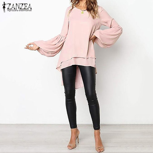 Puff Sleeve Top Women's Asymmetrical Blouse