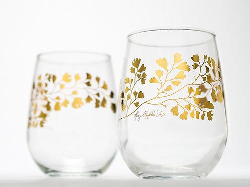 Gold Maidenhair Fern Glassware
