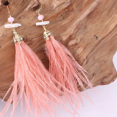 Erica Earring - Ostrich Feather - Coral