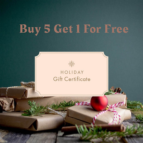 Gift Certificate Buy 5 Get 1 For Free
