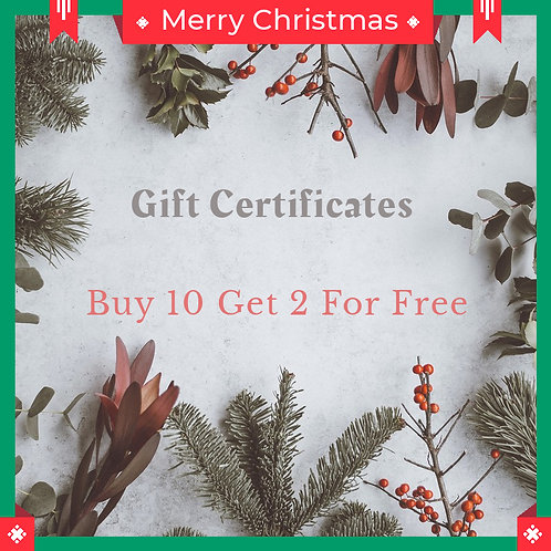 Gift Certificate Buy 10 Get 2 For Free