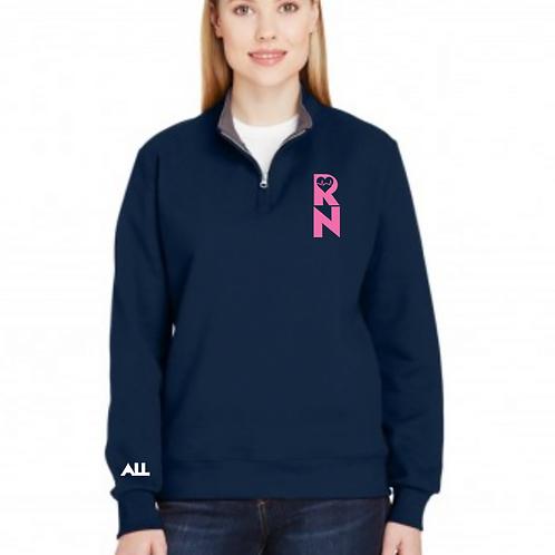 Love Heal Quarter-Zip Women's Navy Sweater