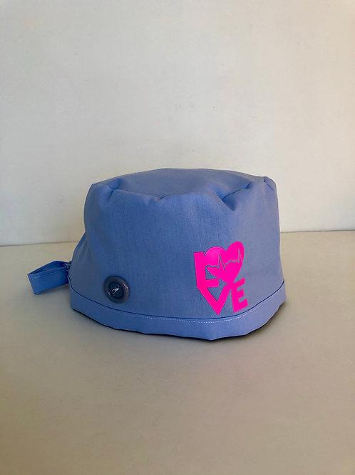 Light Blue Love EKG Scrub Cap