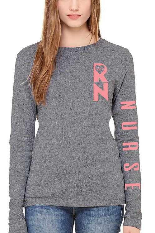 RN long sleeve soft grey women's tee