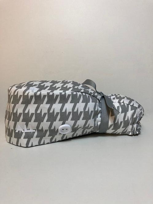 Grey and White Ponytail Scrub Cap