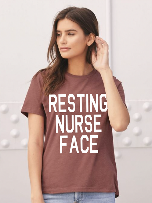 Resting Nurse Face women's relax Maroon tee