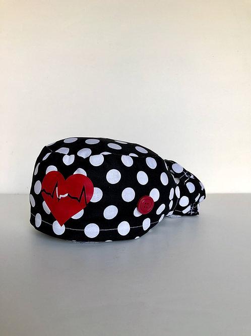 Polka dots EKG heart Ponytail Scrub Cap