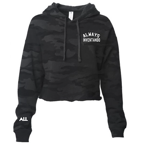Always Inventando Black Camo Cropped women's hoodie