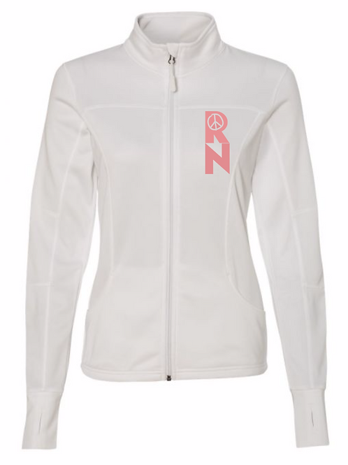 RN peace white collared jacket