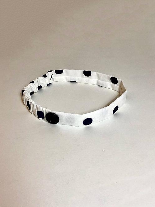 Thin polkadot headband with button