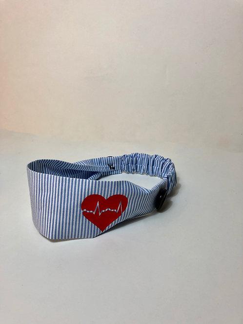 EKG Heart Stripe Headbands with buttons
