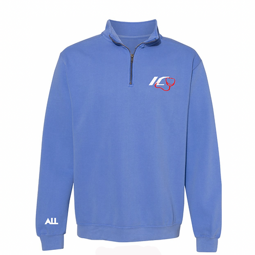 New ICU Unisex Quarter Zip blue sweater