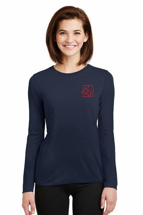 ER Women's Dry-fit Navy long sleeve tee