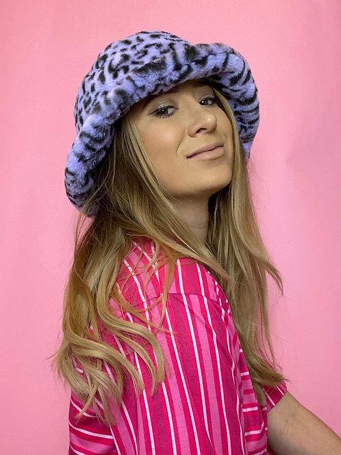 PRE-ORDER Lilac Leopard Print Fluffy Bucket Hat