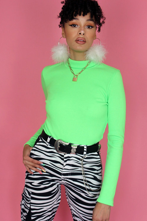 Neon Green Ribbed Long Sleeve Top
