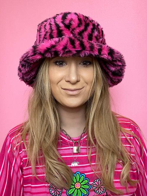Pink Zebra Fluffy Bucket Hat