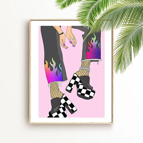 Flame Girl Print