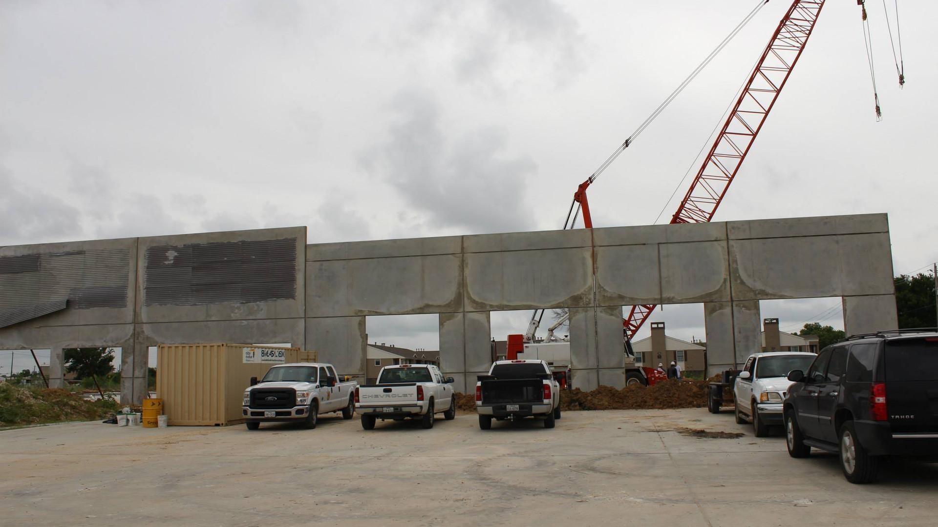 9191 Gulf Freeway walls going up