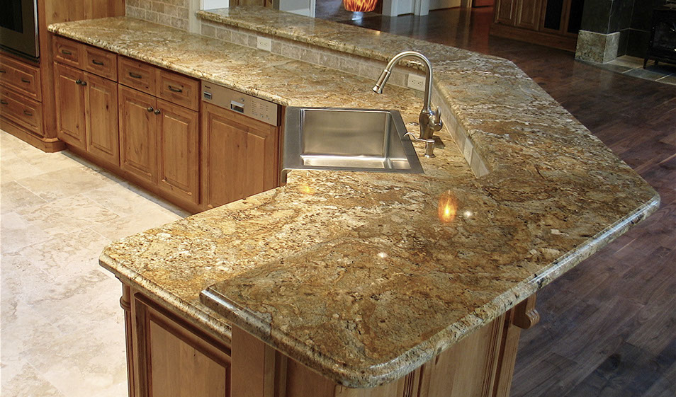 kitchen giallo chrystal granite