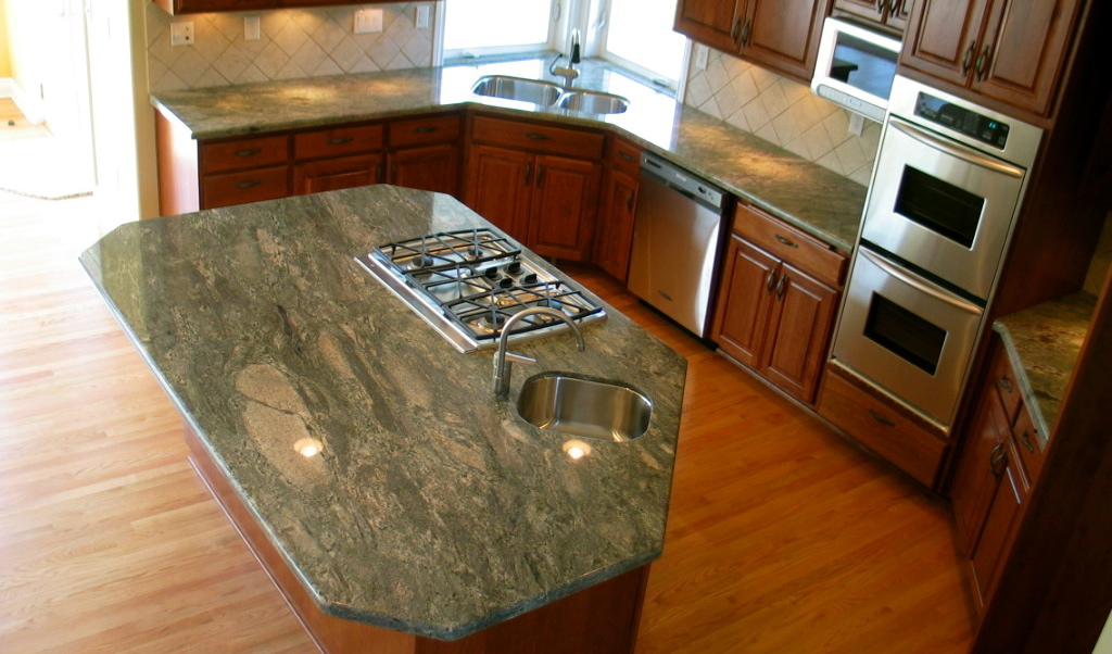 kitchen  waterfall green granite