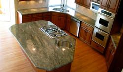 kitchen  waterfall green granite