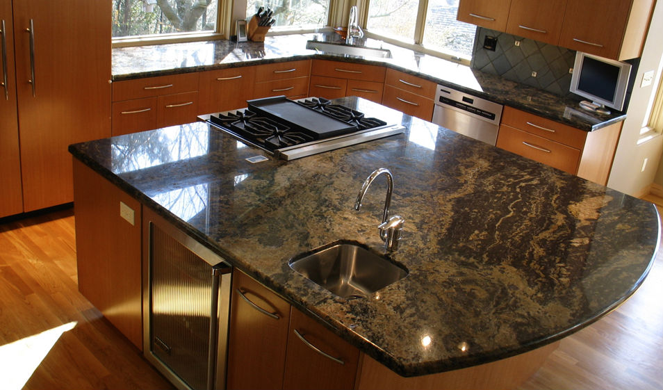 kitchen blue barracuda granite