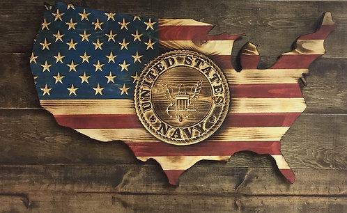 USA Shaped Flag Navy