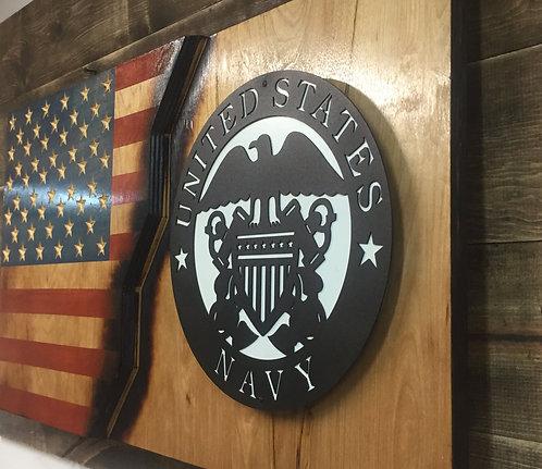 Navy wood and metal flag