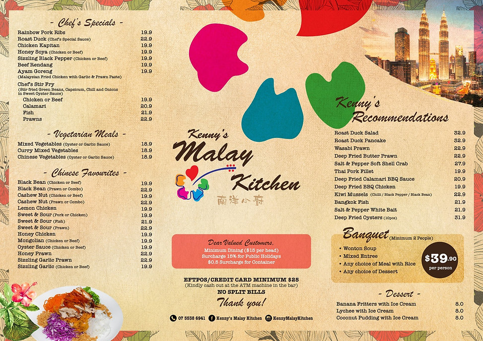 Kenny's Malay Kitchen dine-in menu