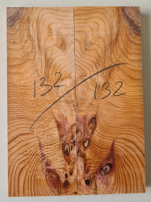 Book matched Yew knife scales ref 132