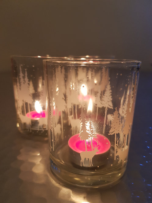 Set of 3 Christmas candle holders