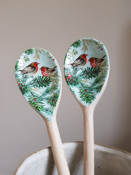 Decoupaged Wooden Spoons - Robin (set of 2)