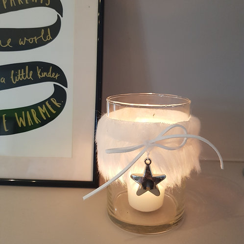 White Fluffy Candle Holder