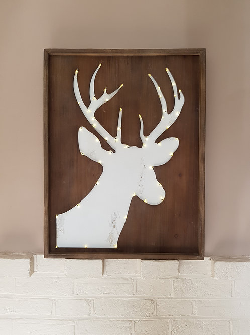 Wooden Stag LED plaque