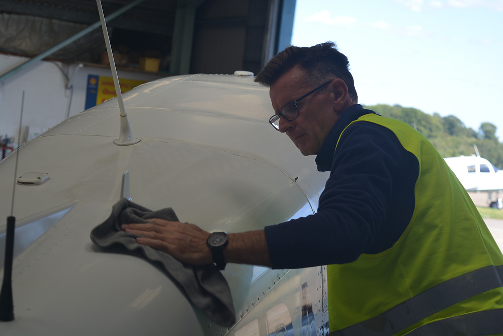 Antony Clay Barring the bodywork on the piper plane
