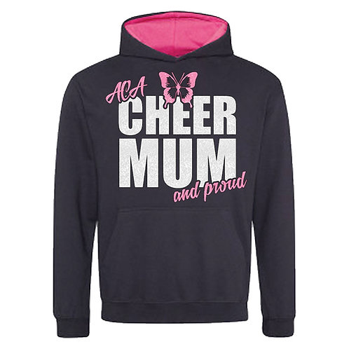 "Glitter ""Cheer Mum and Proud"" Contrast Hoodie"