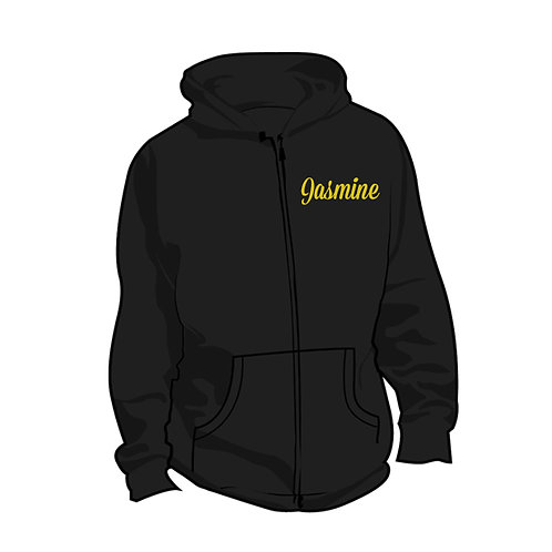 ACA Black Personalised Zip Up Hoodie