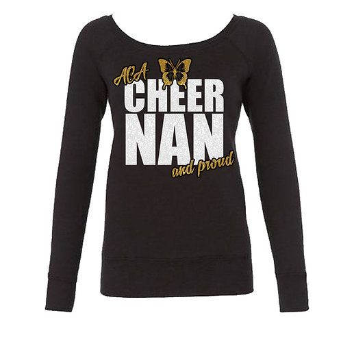 "Glitter ""Cheer Nan and Proud"" Long Sleeve Sweat"
