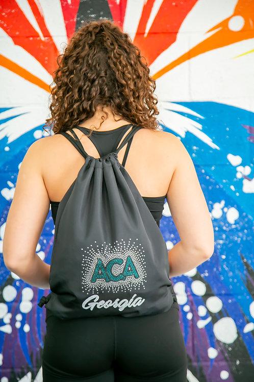 ACA Rhinestone and Glitter Drawstring Bag