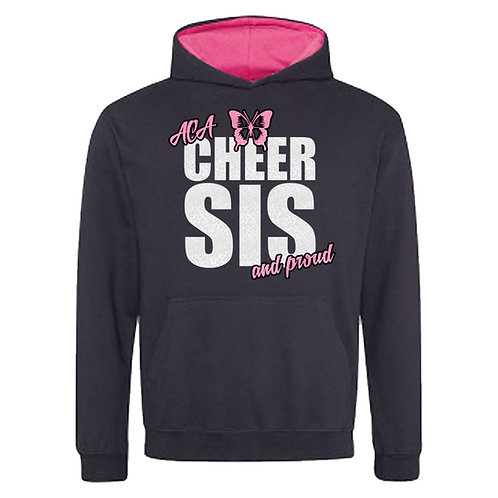 "Glitter ""Cheer Sis and Proud"" Contrast Hoodie"
