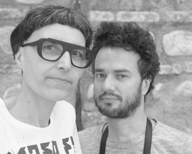 Julien Carrey, auteur et artiste, aux côtés de Matali Crasset, designer. Invités d'honneur du FILAF 2016.