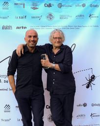Eric Mangion (Directeur du Centre d'Art de la Villa Arson (à gauche), aux côtés de Michel Auder, artiste, réalisateur et Prix d'Honneur du FILAF 2018.