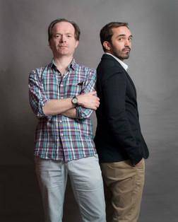 Sébastien Planas, Président du FILAF (à droite), aux côtés de Samuel Hoppe, directeur de la Librairie Volume Paris et membre du comité de sélection du FILAF 2013