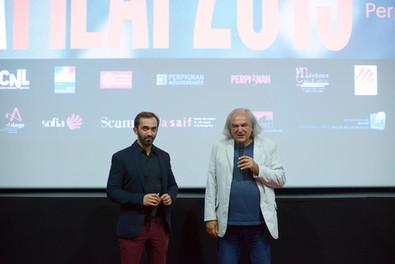 Sébastien Planas, président du FILAF (à gauche), aux côtés d'Alain Fleischer, auteur, réalisateur, photographe, directeur du Fresnoy et Prix d'Honneur du FILAF 2015.